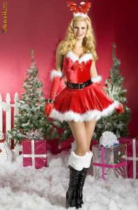 Костюм новогодний (платье,трусики,пояс,перчатки,рожки)